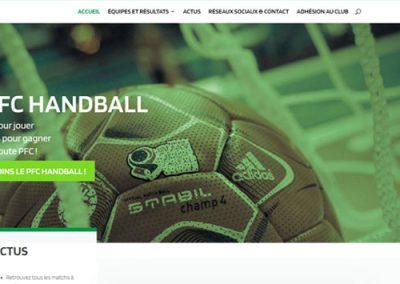 Page d'accueil du site web du PFC handball